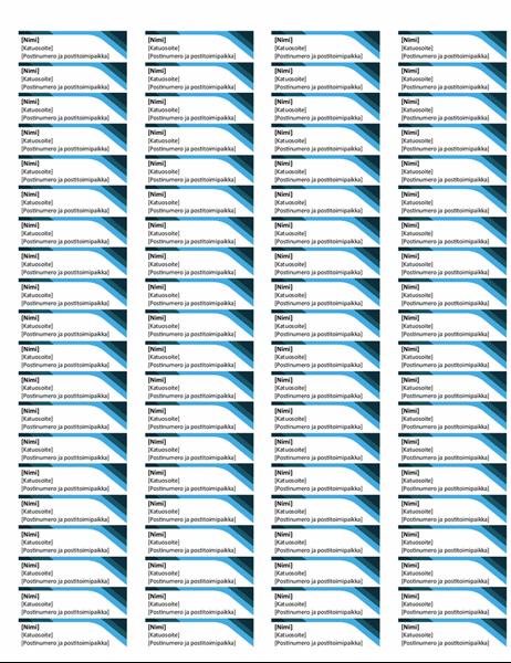 Siniset tarrat (80 per sivu)