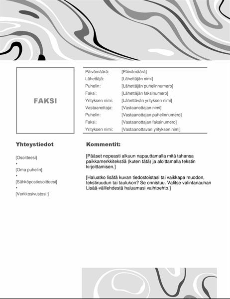Mustavalkoinen pyörre -faksin kansilehti