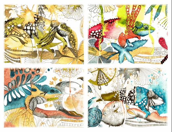 Kameleontti-tervehdyskortit (neljään osaan taitettava)