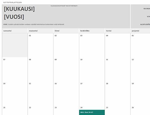 Kotitehtäväkalenteri