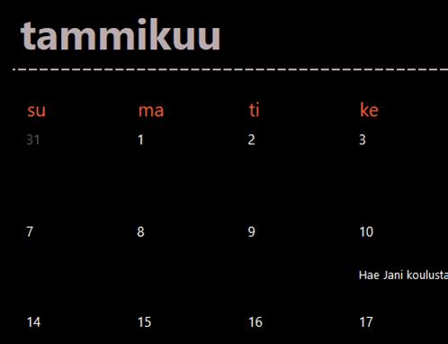 Ikuinen kalenteri (musta)