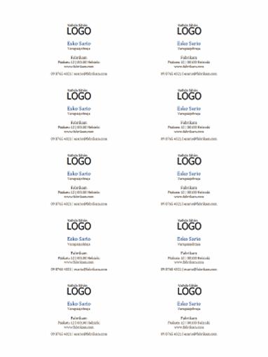 Käyntikortit, joissa on vaakasuuntainen asettelu ja logo (10 sivulla)