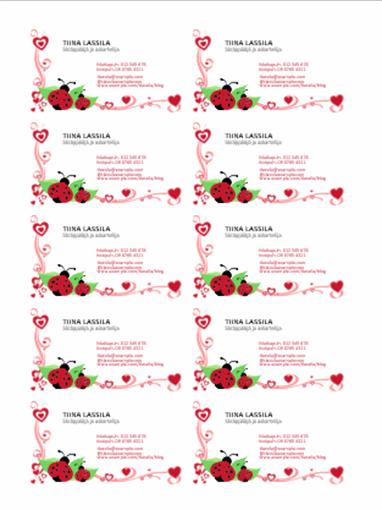 Käyntikortit (leppäkerttuja ja sydämiä, tasattu vasemmalle, 10 sivulla)