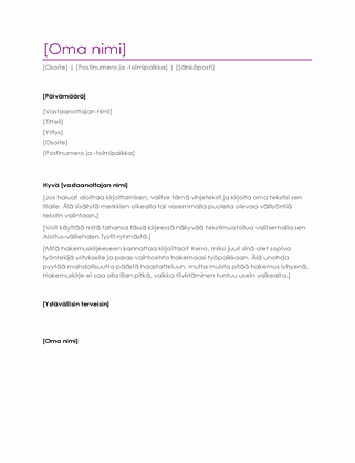 Ansioluettelon saatekirje (violetti)