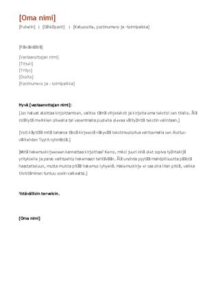 Ansioluettelo ja saatekirje (kronologinen)