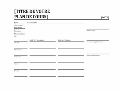 Planificateur de leçons quotidien