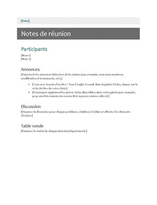 Notes de réunion