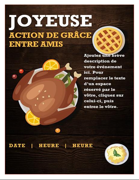 Invitation à passer l'Action de grâce Thanksgiving entre amis