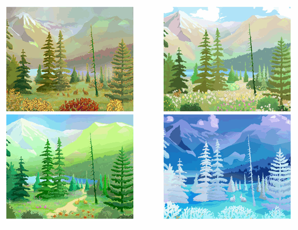Cartes postales avec scènes de nature sauvage