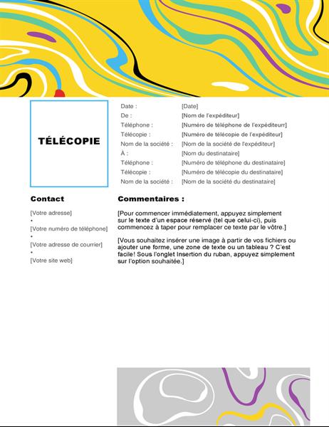 Page de garde de télécopie tourbillon coloré