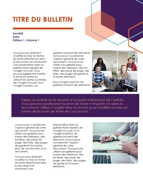 Bulletin d'information (conception cadre, 2pages)