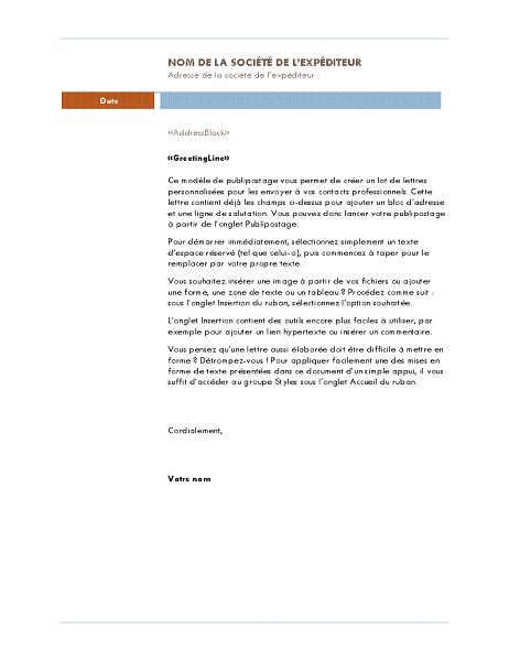 Publipostage d'une lettre (thème Médian)