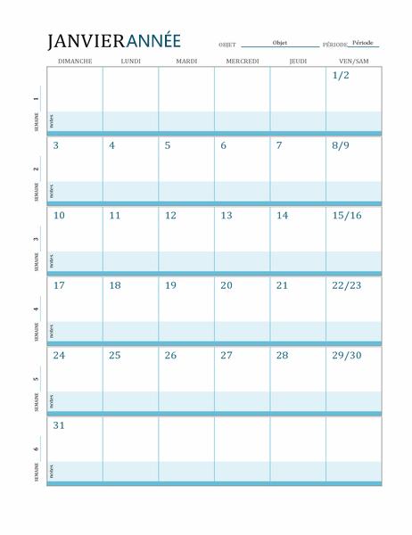 Calendrier de plan de cours