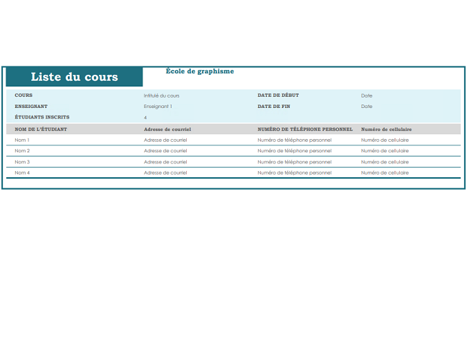 Liste du cours