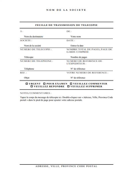 Page de garde de télécopie (élégante)