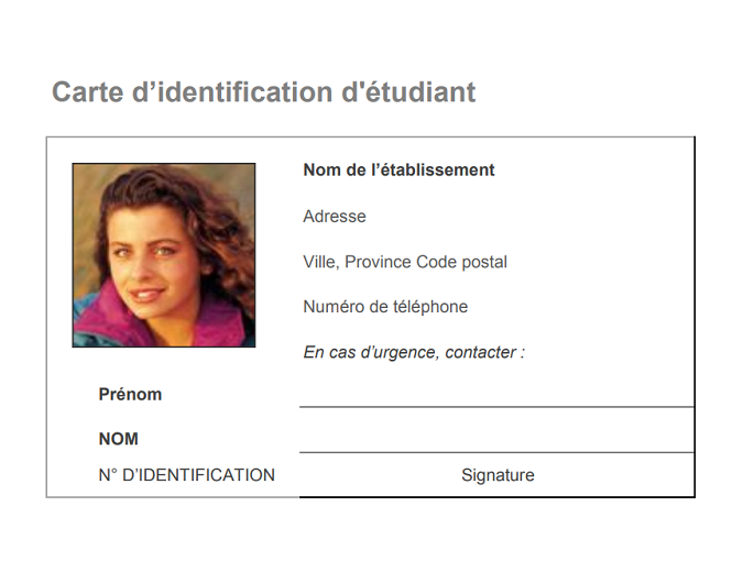 Carte d'identification d'étudiant