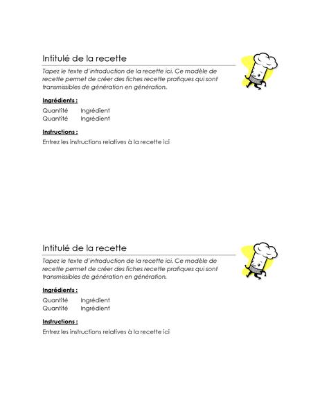 Fiches de recette (2 par page)