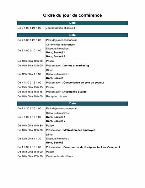 Événements à l'ordre du jour de la conférence