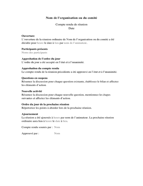 Procès-verbal de réunion d'entreprise (long formulaire)