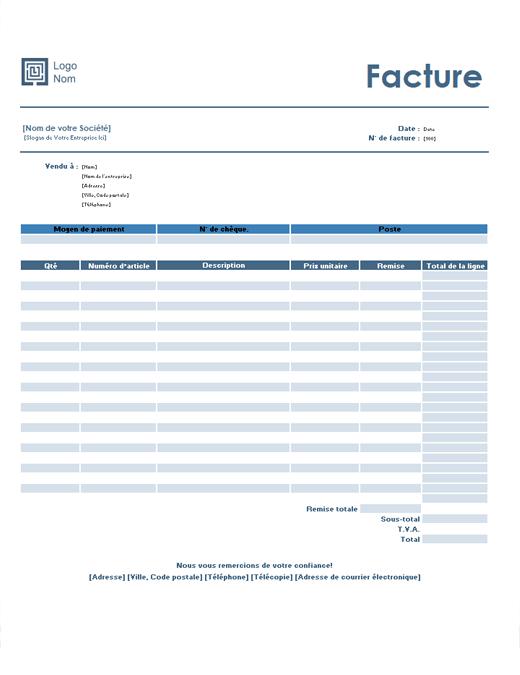 Facture (modèle Simple Bleu)