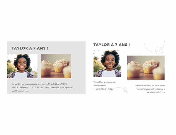 Cartes postales d'invitation à une fête d'anniversaire avec photos (2 par page)