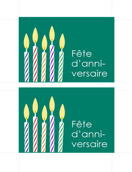 Cartons d'invitation à un anniversaire (2 par page)