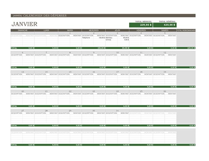 Calendrier des dépenses (perpétuel)