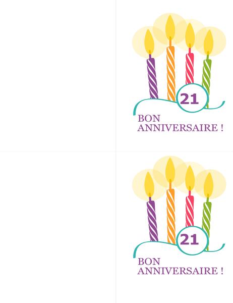 Cartes d'anniversaire spécial (2 par page, pour support Avery 8315)