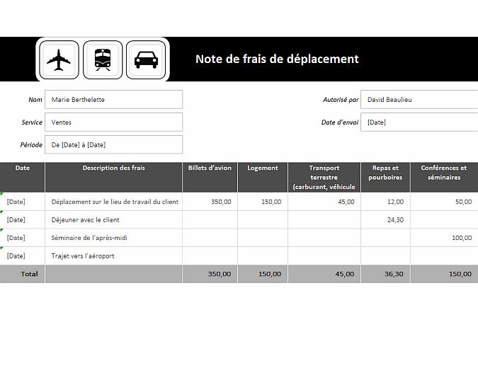 Rapport de frais de déplacement