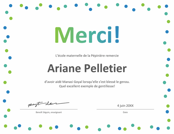 Certificat de remerciements «Confetti»