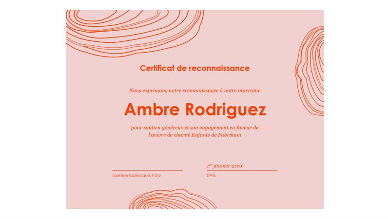 Certificat de reconnaissance «Croquis en spirale»