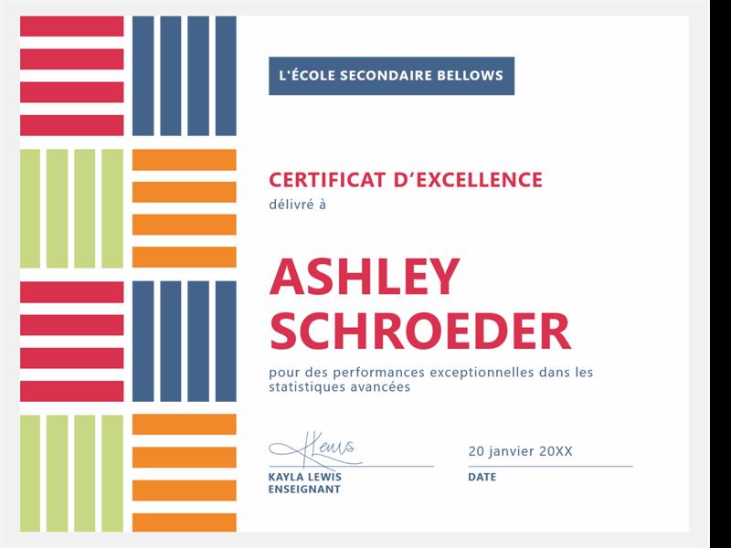 Certificat d'excellence pour élève de type bloc de couleur