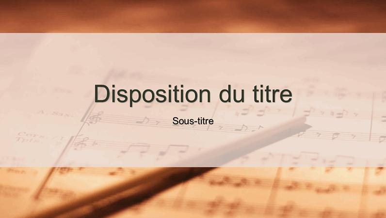 Diapositives de conception d'une partition musicale