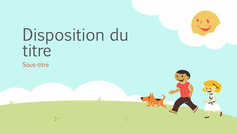 Design de présentation pédagogique Enfants qui jouent (dessins, grand écran)