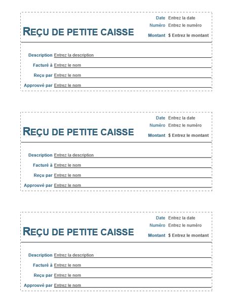 Recu De Petite Caisse 3 Par Page