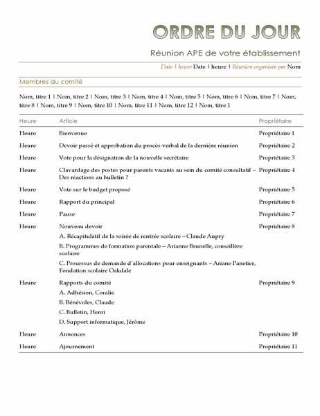 Ordre du jour d'association de parents d'élèves et d'enseignants (APE)