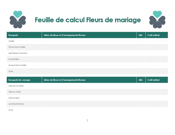 Planificateur de fleurs de mariage (Quatre pages)