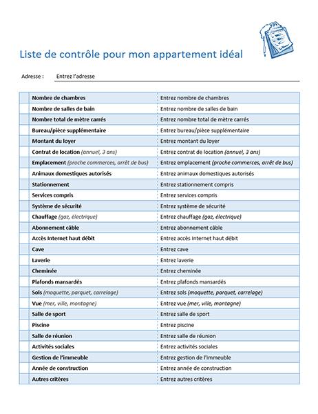 Liste de contrôle pour mon appartement idéal