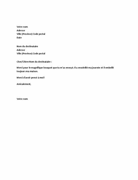 Lettre de remerciements pour un cadeau