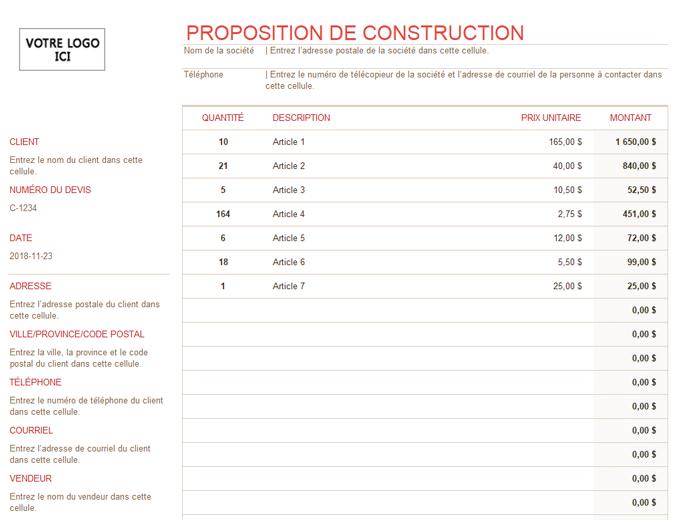 Proposition de construction