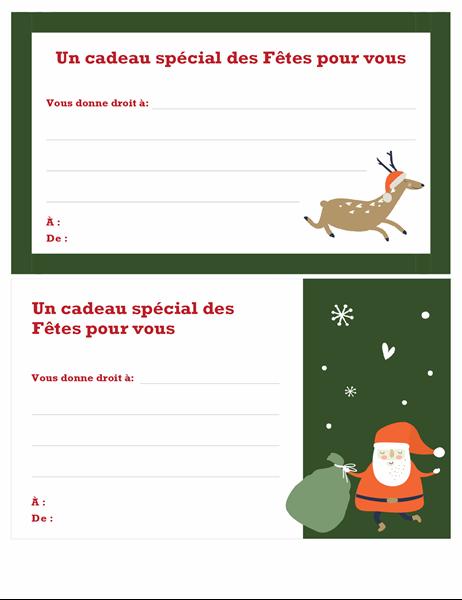 Chèque-cadeau de Noël (conception Esprit de Noël)