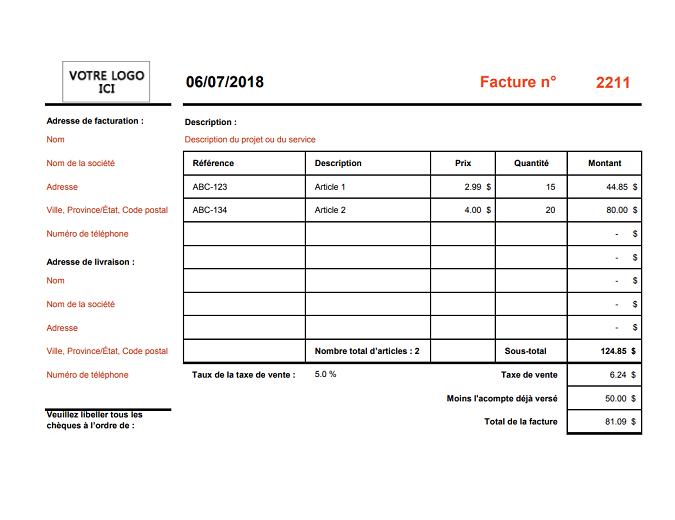 Facture calculant le total (format « paysage »)