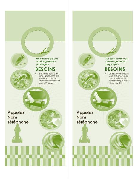 Affichette de porte pour une entreprise d'aménagement paysager (2par page)