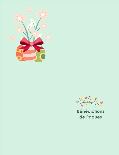 Carte de Pâques (avec fleurs, pliable en quatre)