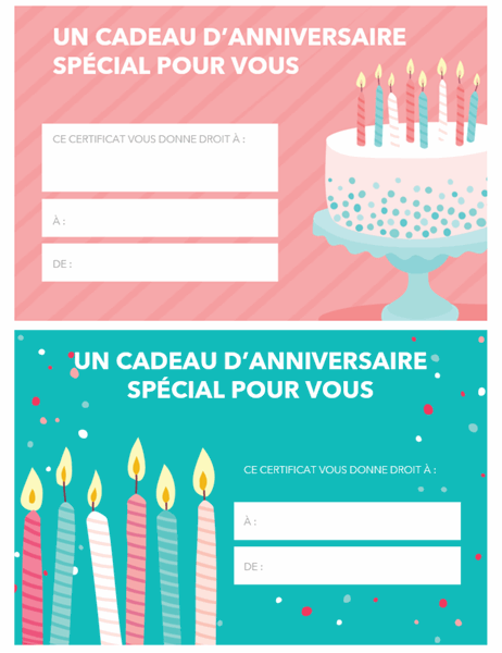 Bon-cadeau d'anniversaire (conception claire)