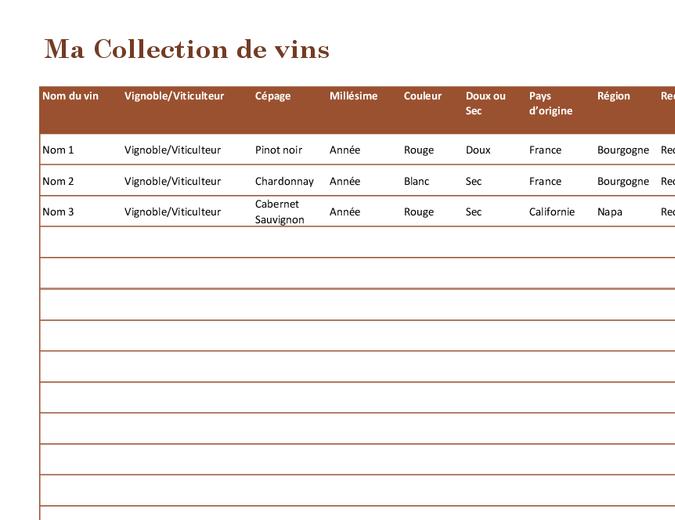 ListeCollection de vins