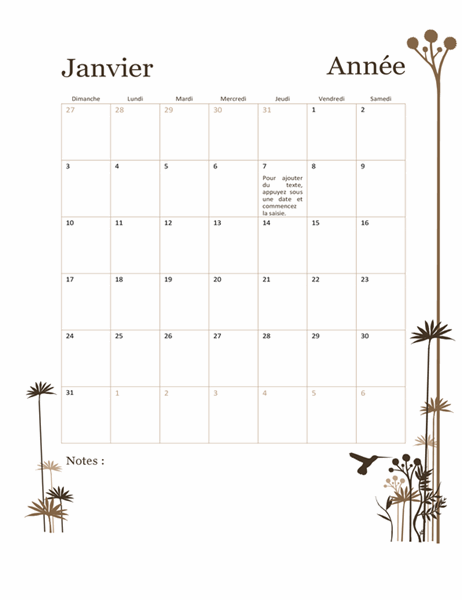 Calendrier sur 12mois avec illustration colibris (dim. - sam.)