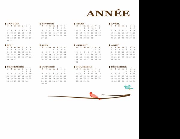 Calendrier annuel personnalisé avec des oiseaux sur une branche (dim. au sam.)