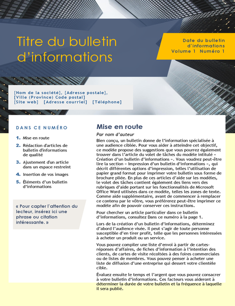 Bulletin d'informations (4 pages)