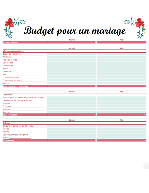 Planificateur de budget de mariage